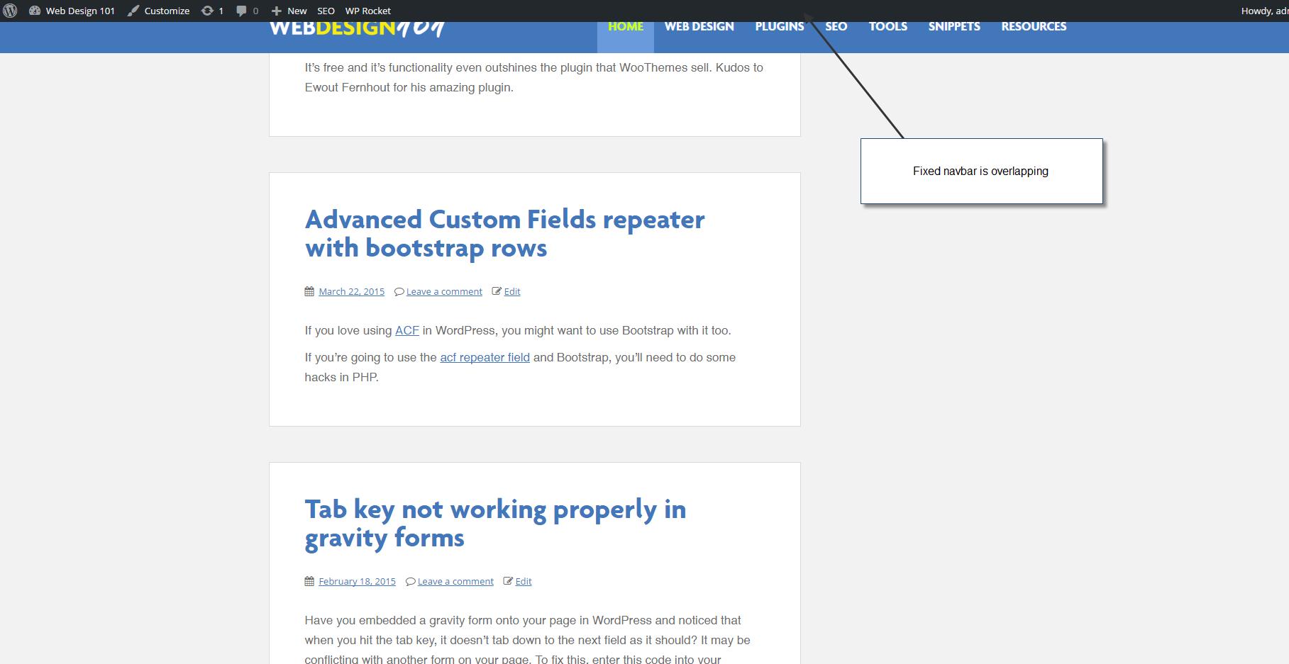 Stop Wordpress Admin Bar Overlapping Your Navbar In Bootstrap Web
